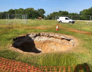 Subsurface laser scan survey of sinkhole in playing field